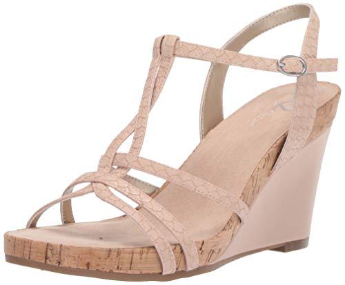 Cork Wedge Pink - Aerosoles A2 Women's Plushed Nickel Wedge Sandal, Pink Snake, 7.5 M US