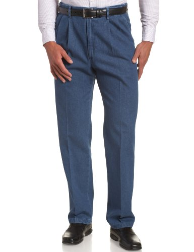 Haggar Men's Work To Weekend Hidden Expandable Waist Denim Pleat Front Pant,Light (Pleat Front Pant)