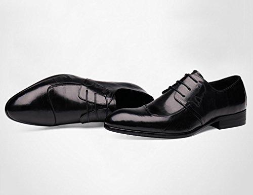 Zapatos Clásicos de Piel para Hombre Zapatos de cuero para hombres Ropa formal Negocios Zapatos de boda puntiagudos Encaje Estilo británico Negro ( Color : Negro , Tamaño : EU43/UK8 ) Negro