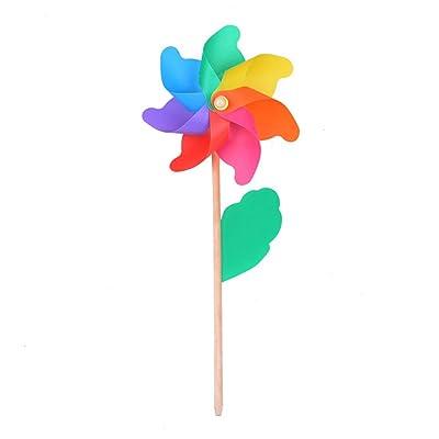 ZAILHWK Wind Pinwheel, Rainbow Windmill 5pcs Wooden Pole Pinwheel Suitable for Children Toys, Garden, Party, Outdoor, Yard, Decoration 12.6x29.1inch : Garden & Outdoor