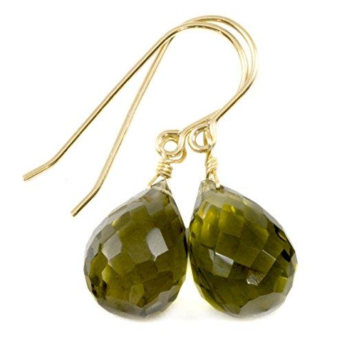 14k Gold Filled Olive Green Quartz Earrings Faceted Briolette Fat Teardrop Simple Drops (Earrings Olive Quartz)