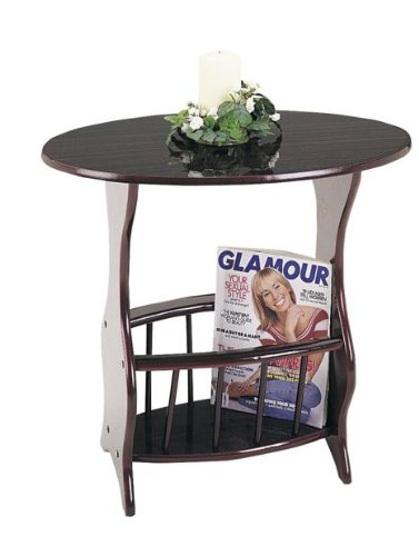 """22.5"""" Tall Wooden End Table with Magazine Rack, Oval Shaped with Cherry finish"""