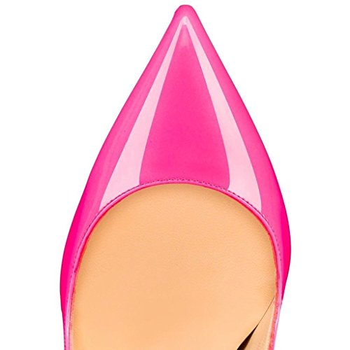 uBeauty Damen High Heels Stilettos Slip-On Pumps Spitze Zehen Klassischer Übergröße Schuhe Rose
