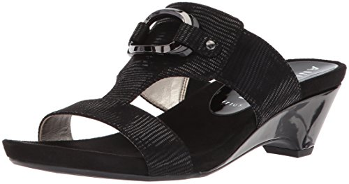 Anne Klein Women's Teela Wedge Sandal Black Fabric buy cheap best seller enjoy shopping cheap sale best seller free shipping pre order hOaU0I6l