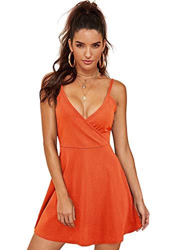 SheIn Women's V Neck Spaghetti Straps Sleeveless Sexy Backless Wrap Flare Dress Medium Orange