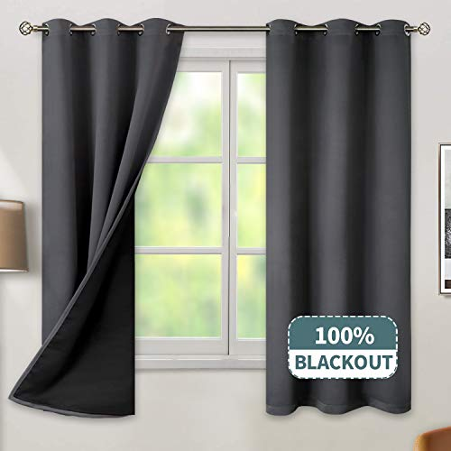 BGment Thermal Insulated 100% Blackout Curtains for Bedroom with Black Liner, Double Layer Full Room Darkening Noise Reducing Grommet Curtain (42 x 63 Inch, Dark Grey, 2 Panels) (Curtains Total Blackout)