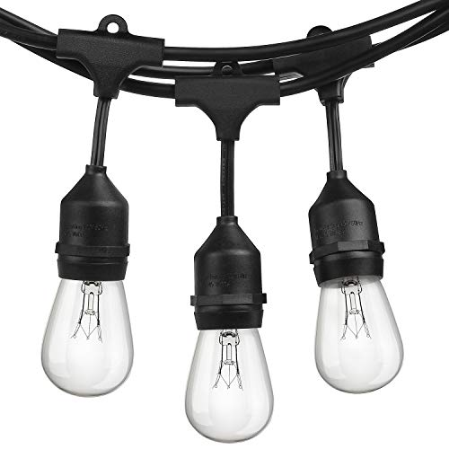 2-Pack 48Foot Heavy Duty Outdoor Patio String lights, Edison Vintage Dimmable 11S14 Bulbs w/ 15 Hanging Sockets, Commercial Grade Weatherproof Market Cafe Lights for Bistro Backyard Pergola Party, Blk