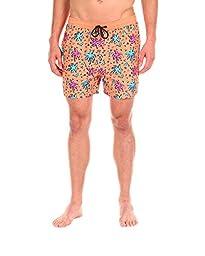 Men\'s Swim Short - The Party Palms Pattern Swim Trunk by Cabana Bro, Large