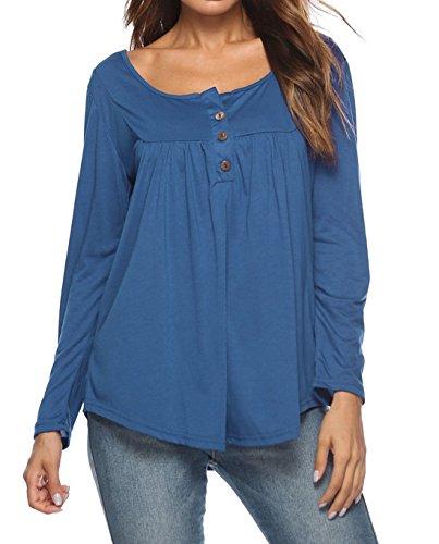 Bleu Haut Chemisiers Tee et Femmes Shirt Printemps Tops Automne Plier Longues Manches Clair Blouses Mode T tfqx6nw
