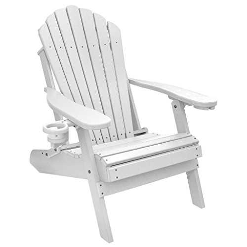 ECCB Outdoor Outer Banks Deluxe Oversized Poly Lumber Folding Adirondack Chair (White) (Lumber Chair Recycled Poly Folding)