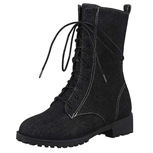 Baiggooswt Combat Boot Women Solid Color Square Heel Lace-Up Denim Boots Snow Boots Round Toe Rider Shoes