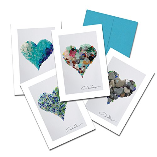 Donald Verger Photography Fine Art Note Cards. Elegant Sea Glass Hearts. 3.5x5. Set of 8 Best Quality, Blank Folded Cards with Matching Envelopes. Unique as Thank You Notes, Invitations & - Popular Frames Glasses 2015