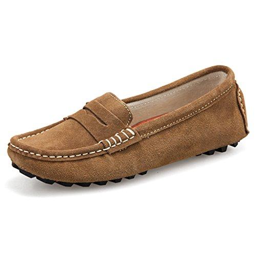 Oriskey Mocasines Pisos de Gamuza Mujer Loafers Casual Zapatos Zapatillas Kakhi