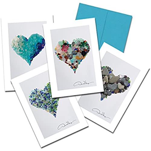 Donald Verger Photography Fine Art Note Cards. Elegant Sea Glass Hearts. 3.5x5. Set of 8 Best Quality, Blank Folded Sales