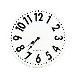 NIKKY HOME 16 Inch Classic Metal Round Wall Clock, White