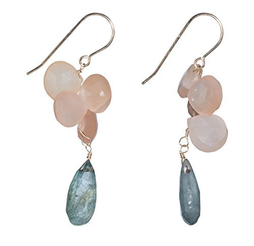 Aquamarine and Pink Moonstone Dangle Earrings, on 14K Gold Filled French Earwire - Moonstone Gold Chandelier Earrings