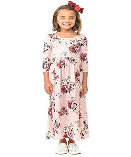 (Miss Bei Girls Dresses Short Sleeves Dress Summer Long Holiday Maxi Dress with Pocket Size 4-10T (Long dot Pink, 9-10Years/130cm))