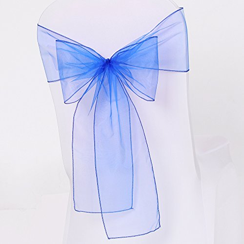 Meijuner 25pcs Chair Sashes Organza Sashes Chair Bow For Wedding Party Birthday Chair Decoration 25 Colors Available (Royal Blue)