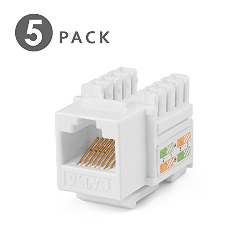 TNP RJ45 Keystone Jack (5 Pack) Cat6 Cat5e Cat5 Compatible 8P8C Ethernet Network Insert Punch Down Adapter Connector Port Module for Wall Plate Outlet Panel, White