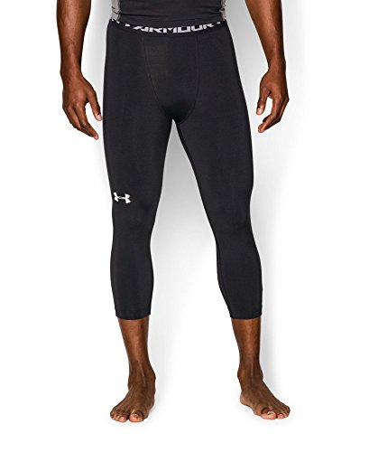 Under Armour Men's HeatGear Armour ¾ Compression Leggings, Black /White, Large by Under Armour (Image #2)