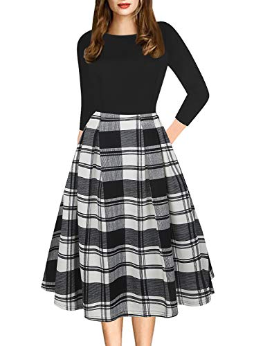 Long Sleeve Dresses for Womens Grid Vintage Casual Round Neck Floral Tunic Work Party A-Line Swing Dress with Pockets 162 (L, Black-Grid)