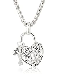 """Open Heart Lock Necklace with Miniature Heart Key Pendant Necklace, 18"""""""