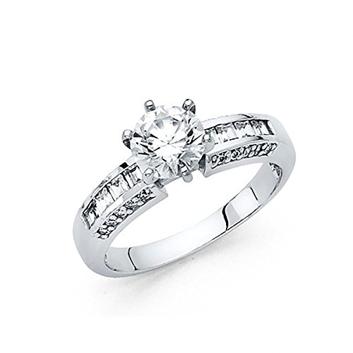 14k White Gold CZ Channel Set Baguette Pave Engagement Ring