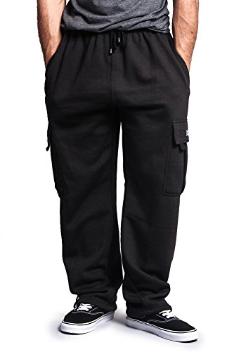 G-Style USA Men's Solid Fleece Cargo Pants DFP2 - BLACK - Large