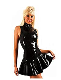 FASHION QUEEN Women's PVC Zip Front Mini Dress Black Clubwear
