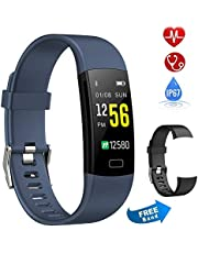 Semaco Fitness Tracker, Waterproof Activity Tracker Watch with Heart Rate Monitor Colour Screen, Pedometer, Sleep Monitor, Step Calorie Counter, Smartwatch for Kids Women Men (Blue(black band))
