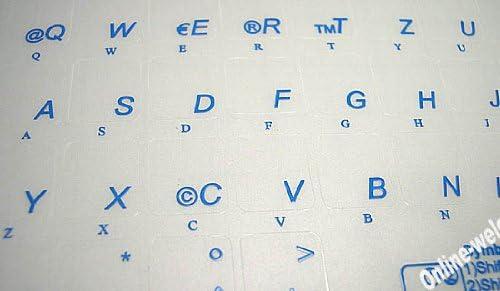 German Keyboard Label with Blue Lettering Transparent for Computer LAPTOPS Desktop