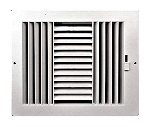 - Three-way plastic register side wall/ceiling air register with multi-shutter damper in white (12