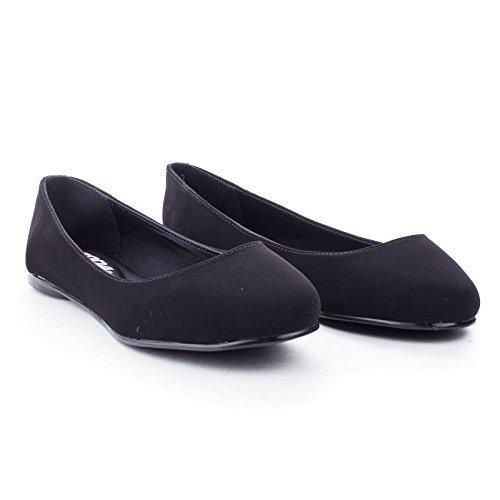 Round Toe Flat Women Shoes (Kreme& Black Nubuck Round Toe Extra Cushioned Insole Slip On Comfort Dress Flats -7.5)