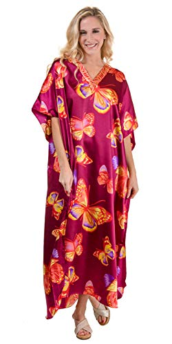 Winlar Long One Size Satin Charmeuse Poly Caftan in Morning Flight (Magenta/Butterfly Print, One Size Fits Most)