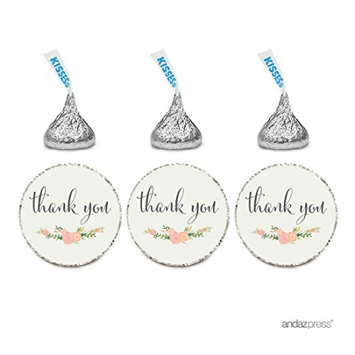 Andaz Press Chocolate Drop Labels Stickers, Thank You, Floral Roses, 216-Pack, For Wedding Birthday Party Baby Bridal Shower Hershey's Kisses Party Favors Decor Envelope Seals