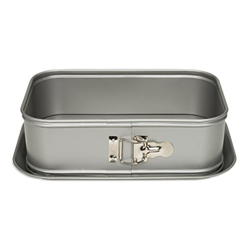 Patisse Extra Deep Rectangular Springform Pan 7-1/8 inch x 11 inch or 18 cm x 28 cm Silver Top Series Nonstick Coated Gray Metallic Color 03508