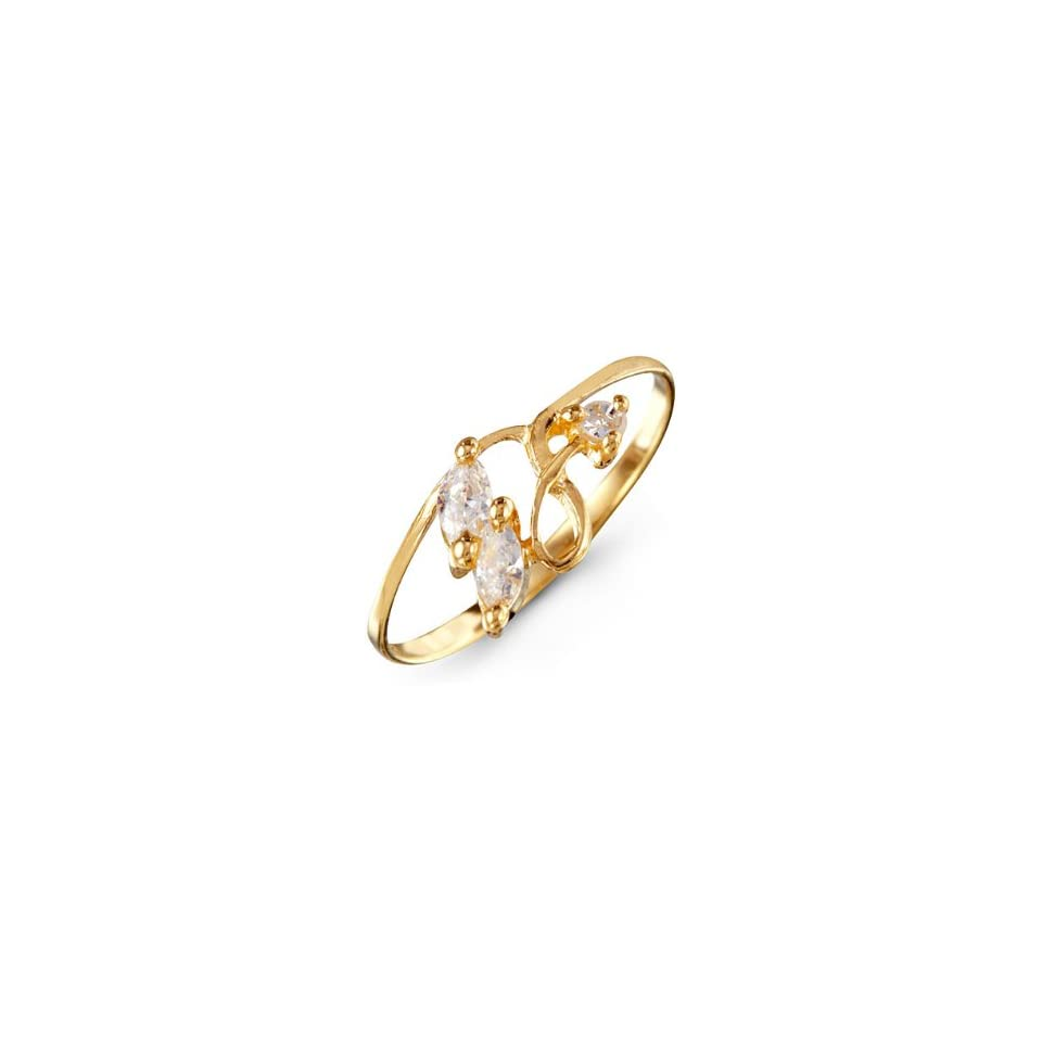 Marquise White CZ Twist Womens 14k Yellow Gold Ring