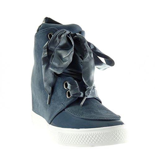 Angkorly - Scarpe da Moda Sneaker Zeppa classic donna lucide Tacco zeppa piattaforma 7 CM - Blu