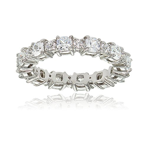 Hoops & Loops Sterling Silver Cubic Zirconia Cushion & Round-cut Eternity Band Ring