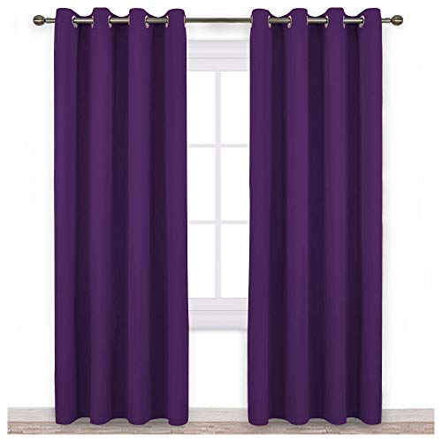 NICETOWN Blackout Curtains Drapery Panels - Window Treatment Royal Purple Blackout Curtains/Panels for Bedroom/Living Room Window, 84 inches Long, 2 Panel Set ()