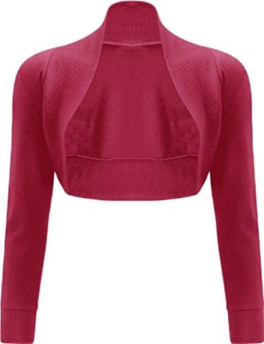 XCLUSIVECOLLECTION New para mujer Plain manga larga Bolero encogimiento de hombros corta chaqueta superior 8-14 Hot Pink