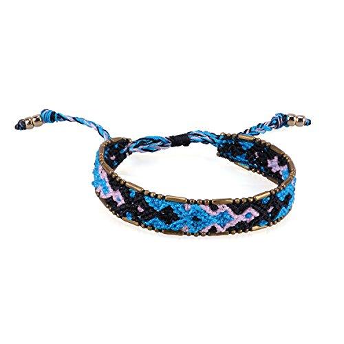 Blue/Black Boho Handmade Woven Braided Friendship Bracelet Wristband