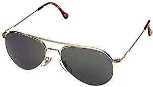 AO Eyewear General Wire Spatula Aviator Sunglasses with Gold Frame