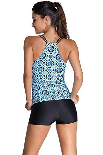 New Bluish Patterned Shirr 2PCS Tankini set bikini Swimsuit Swimwear estivo taglia UK 14EU 42