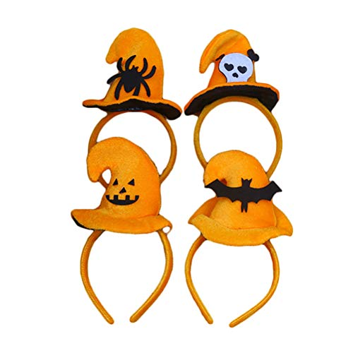 4pcs Halloween Headband Cartoon Cute Spider Pumpkin Bat Ghost Decor Hair Hoop Witch Hat Headwear Hair Accessories for Dance Party Cosplay ()