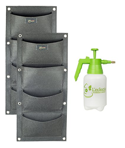 Best Vertical Garden Kit With Wall Planters & Garden Sprayer For Indoor Gardening. Use for Herb Garden Plants or as a Strawberry Planter. With Bonus E-Book About Vertical Gardening by L'Eclectic Home & Garden