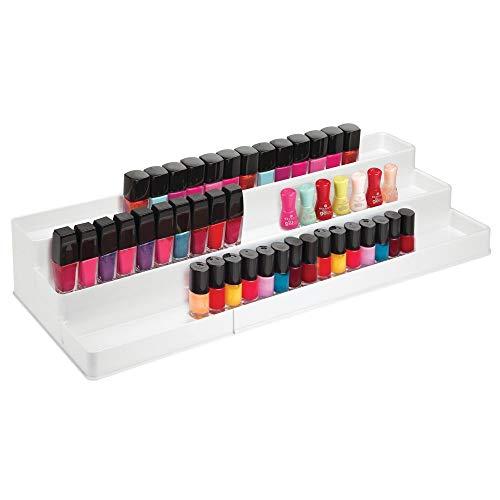 mDesign Adjustable, Expandable Plastic 3-Tier Nail Polish & Makeup Organizer Storage Shelf and Display Rack - for Bathroom Vanity Countertop - Space Saving Design, Large Capacity, 3 Shelves - White