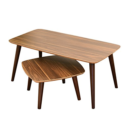 Laputa Wooden Tea Table Set For Living Room, Small Coffee Table Wood Set, Two Low Wooden Tea Tables, Easy Set Up, No Tools Required