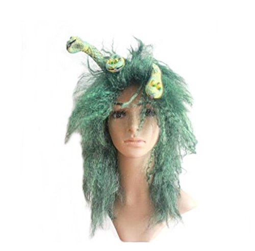 LeMarnia Medusa 16 Inches Green Color Halloween Cosplay Wigs Heat Resistant Green Wig for -