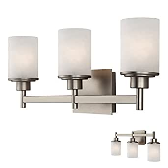 amazon bathroom light fixtures brushed nickel 3 globe vanity bath light bar fixture with 15379